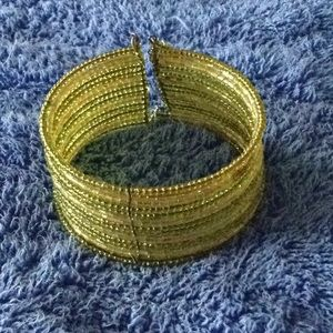 Beaded stretchy green and yellow, cuff/bangle
